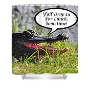 Drop In For Lunch Greeting Card Shower Curtain