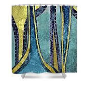 Droplet Ornaments In Navy Blue And Gold Shower Curtain