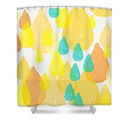 Drops Of Sunshine- Abstract Painting Shower Curtain by Linda Woods