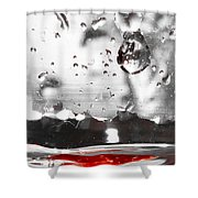 Drops Of Water With Red Shower Curtain