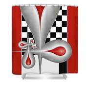 Drops On A Chess Board Shower Curtain