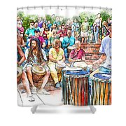 Drum Circle Of Friends Shower Curtain