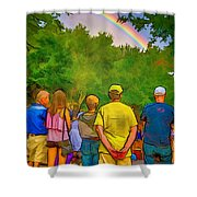 Drum Circle Rainbow Shower Curtain