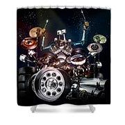 Drum Machine - The Band's Engine Shower Curtain by Alessandro Della Pietra