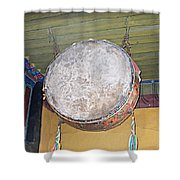 Drum Outside Former Living Quarters Of Dalai Lama In Potala Palace In Lhasa-tibet Shower Curtain