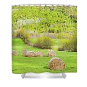 Dry Hay Bales In Spring Farm Field Maine Shower Curtain