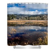 Dry Lagoon In Winter Panorama Shower Curtain