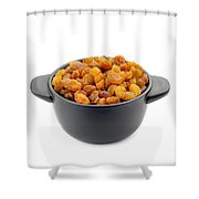Dry Raisins In A Black Cup Shower Curtain
