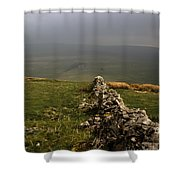 Drystone Wall  Misty Day Kettlewell Wharfedale North Yorkshire England Shower Curtain