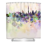 Dubai Skyline In Watercolour Background Shower Curtain