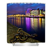 Dublin Docklands At Night / Dublin Shower Curtain by Barry O Carroll