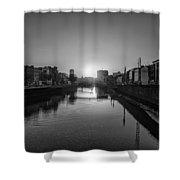 Dublin Sunrise - Liffey River In Black And White Shower Curtain
