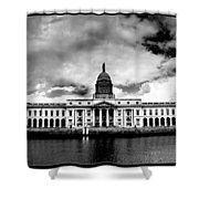 Dublin - The Custom House - Bw Shower Curtain