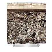 Dubrovnik Rooftops And Lokrum Island Against The Dalmatian Adriatic Sepia Shower Curtain