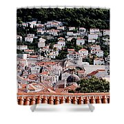 Dubrovnik Rooftops Domes And North East Walls Against The Mountains From The Sea Walls Shower Curtain