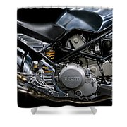 Ducati Monster Cafe Racer Engine Shower Curtain
