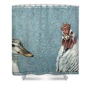 Duck Chicken Shower Curtain by James W Johnson