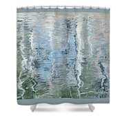 Duck On Pond, Abstract Shower Curtain