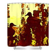 Ducks On Red Lake 3 Shower Curtain
