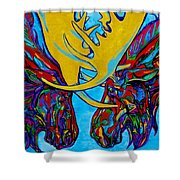 Duelling Moose Shower Curtain