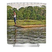 Dugout Canoe In The Rapti River In Chitin National Park-nepal Shower Curtain