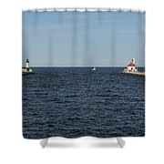 Duluth N And S Pier Lighthouses 5 Shower Curtain
