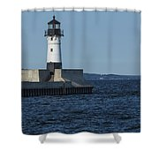 Duluth N Pier Lighthouse 40 Shower Curtain