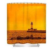 Duluth N Pier Lighthouse 41 A Shower Curtain