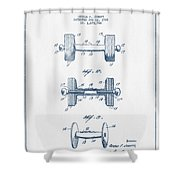 Dumbbell Patent Drawing From 1927  -  Blue Ink Shower Curtain by Aged Pixel