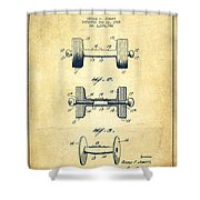 Dumbbell Patent Drawing From 1927 - Vintage Shower Curtain by Aged Pixel