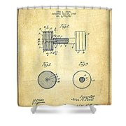 Dumbbell Patent Drawing From 1935 -vintage Shower Curtain by Aged Pixel