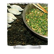 Dumpling Preparation Shower Curtain