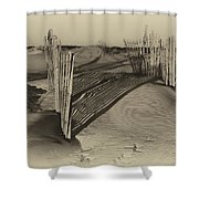 Dune Erosion Fence Outer Banks Nc Antique Plate Img_3761 Shower Curtain