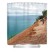 Dune Over Lake Michigan At Pyramid Point In Sleeping Bear Dunes National Lakeshore-michigan Shower Curtain