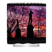 Durell's Independent Battery D And 48th Pa Volunteer Infantry-a1 Sunset Antietam Shower Curtain by Michael Mazaika