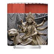 Durga In Kumartuli Shower Curtain by Shaun Higson