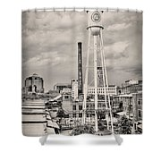 Durham In Black And White Shower Curtain