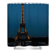 Dusk At Eiffel Tower Shower Curtain