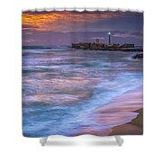 Dusk At La Caleta Beach Cadiz Spain Shower Curtain