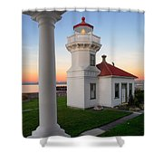 Dusk At Mukilteo Lighhouse Shower Curtain