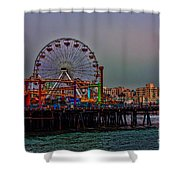 Dusk At The Santa Monica Pier Shower Curtain