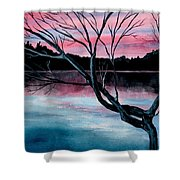 Dusk Lake Arrowhead Maine  Shower Curtain