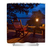 Dusk On The Lake Square Shower Curtain