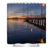 Dusk Settles On Del Norte Pier Shower Curtain