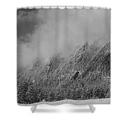 Dusted Flatirons Low Clouds Boulder Colorado Bw Shower Curtain