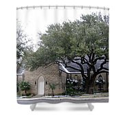 Dusting Of Snow At Church On Pennsylvania St Fort Worth Tx Shower Curtain