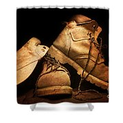 Dusty Work Boots Shower Curtain