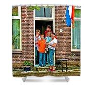 Dutch Family On Orange Day In Enkhuizen-netherlands Shower Curtain