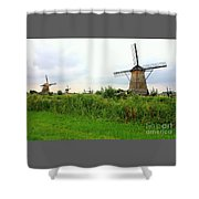 Dutch Landscape With Windmills Shower Curtain by Carol Groenen