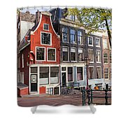 Dutch Style Traditional Houses In Amsterdam Shower Curtain